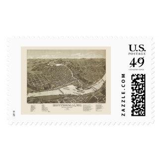 Chippewa Falls, WI Panoramic Map - 1886 Postage