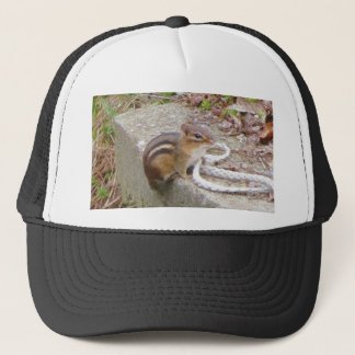 Chippie The Chipmunk Investigates A Rope Trucker Hat