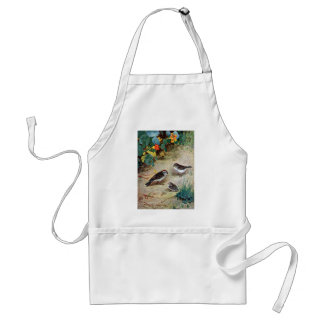 Chipping Sparrow Family and Nasturtiums Adult Apron