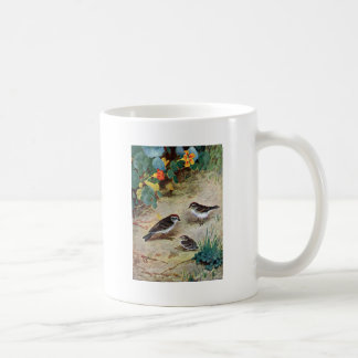 Chipping Sparrow Family and Nasturtiums Coffee Mug