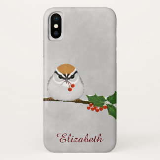 Chipping Sparrow with Holly Berries iPhone X iPhone X Case