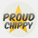 Chippy orgulloso pegatina redonda