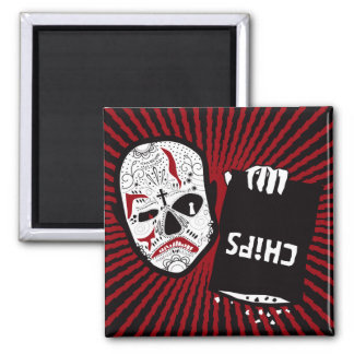 Chips are Down - Red and Black Carn Skull Magnet