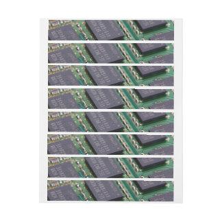 Chips de memoria del ordenador etiquetas postales