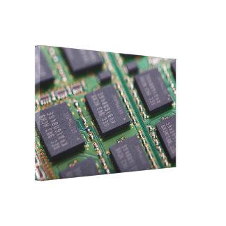 Chips de memoria del ordenador impresiones en lienzo estiradas