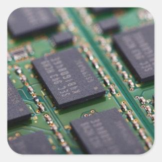 Chips de memoria del ordenador calcomanías cuadradass