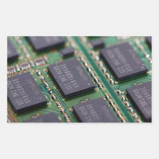 Chips de memoria del ordenador pegatina rectangular