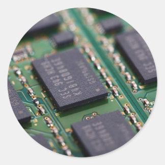 Chips de memoria del ordenador pegatina redonda