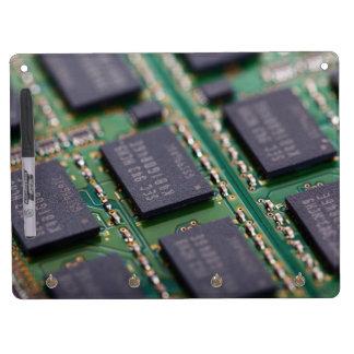 Chips de memoria del ordenador tablero blanco