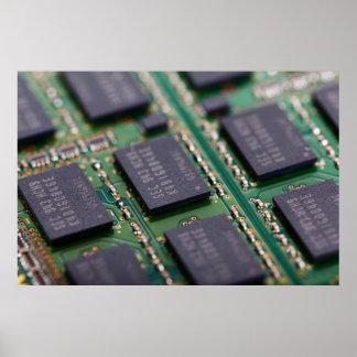Chips de memoria del ordenador póster