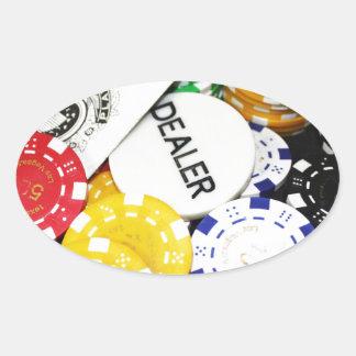 Chips Gambling Casino Win Game Luck Risk Bet Oval Sticker