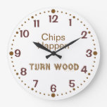 Chips Happen Funny Woodturning Clock w/ Minutes