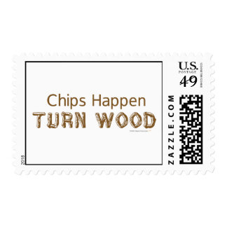 Chips Happen Turn Wood Funny Woodturning Postage