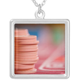 Chips on betting table 2 silver plated necklace