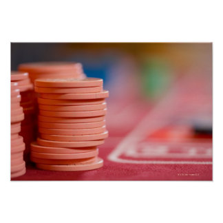 Chips on betting table poster