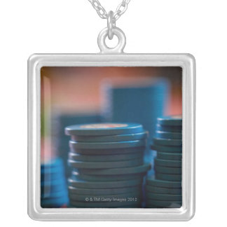 Chips on betting table silver plated necklace