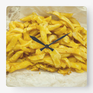 Chips Served in Paper Square Wall Clock