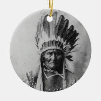 Chiricahua Apache Geronimo Goyathlay Goyahkla Double-Sided Ceramic Round Christmas Ornament