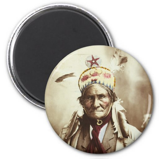 Chiricahua Apache Indian Leader Geronimo Portrait 2 Inch Round Magnet