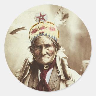 Chiricahua Apache Indian Leader Geronimo Portrait Classic Round Sticker