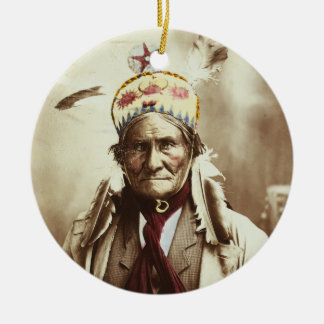 Chiricahua Apache Indian Leader Geronimo Portrait Double-Sided Ceramic Round Christmas Ornament