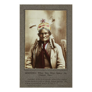 Chiricahua Apache Indian Leader Geronimo Portrait Poster