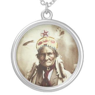 Chiricahua Apache Indian Leader Geronimo Portrait Round Pendant Necklace