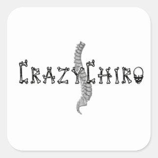 Chiro loco - revolución en quiropráctica pegatina cuadradas