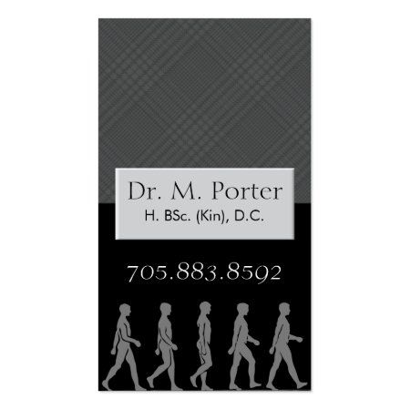 Black and Gray Plaid Monogram Men Silhouette Chiropractor Business Cards