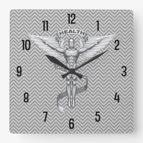 Chiropractic Emblem Logo Wall Clock