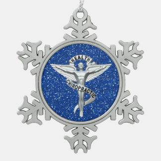 Chiropractic Emblem Pewter Snowflake Ornament