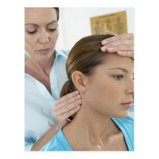 Chiropractic examination of the neck. The Postcard