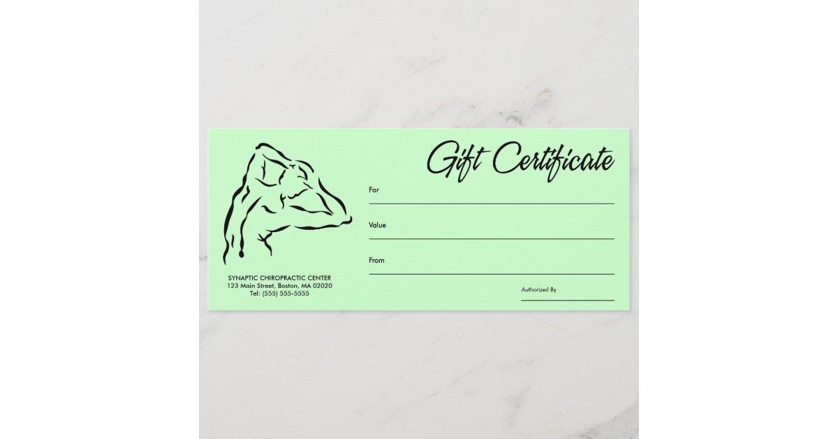 Chiropractic Gift Certificates Zazzle