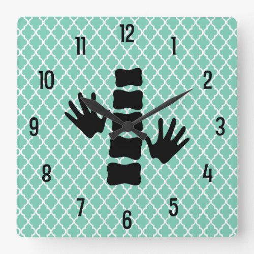 Chiropractic Hands and Spine Logo Wall Clock