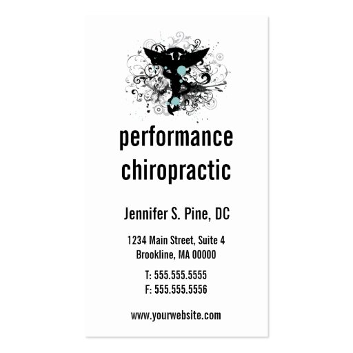 Chiropractic Logo Vertical Business Cards