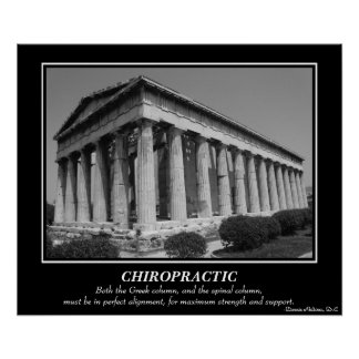 Chiropractic Poster - Greek Column B W Posters