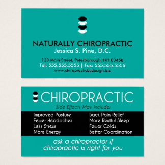 Chiropractic Side Effects May Include Chiropractor Business Card