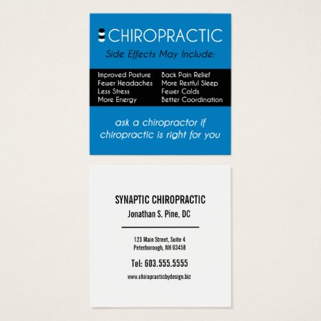 Chiropractic Side Effects May Include Chiropractor Square Business Card