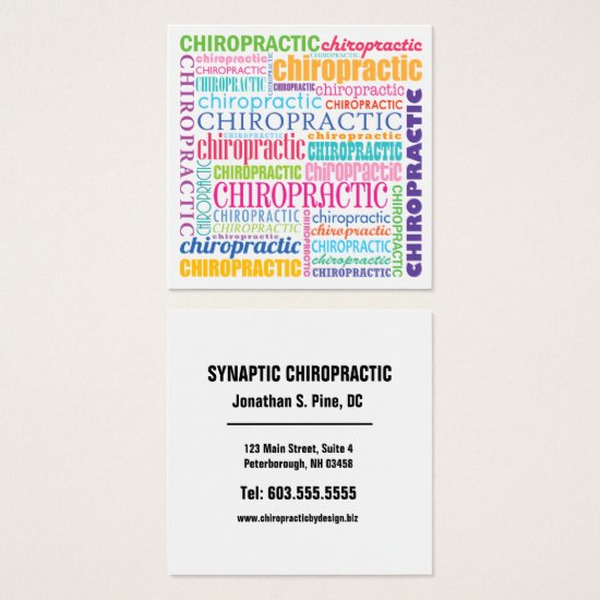 Chiropractic Word Collage Chiropractic Square Business Card