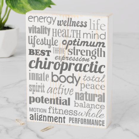 Chiropractic Word Collage Wood Box Sign