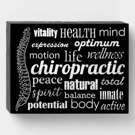 Chiropractic Word Collage \ Wooden Box Sign