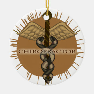 Chiropractor Caduceus ceramic round ornament