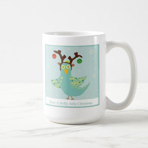 Chirrido alegre del navidad del acebo taza de café