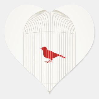 Chirrido en una jaula pegatina en forma de corazón