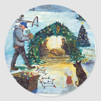 Chirstmas at the Farm Classic Round Sticker