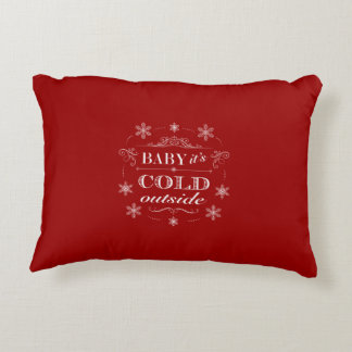 Chirstmas or Apres-Ski Red and White Snowflakes Accent Pillow