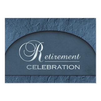 Chiseled Stone Blue Business Executive Retirement 5x7 Paper Invitation Card