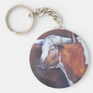 Chisholm Longhorn Basic Round Button Keychain