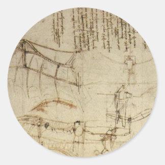 Chisme del vuelo de da Vinci Pegatina Redonda