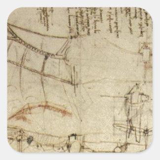 Chisme del vuelo de da Vinci Calcomanías Cuadradass Personalizadas
